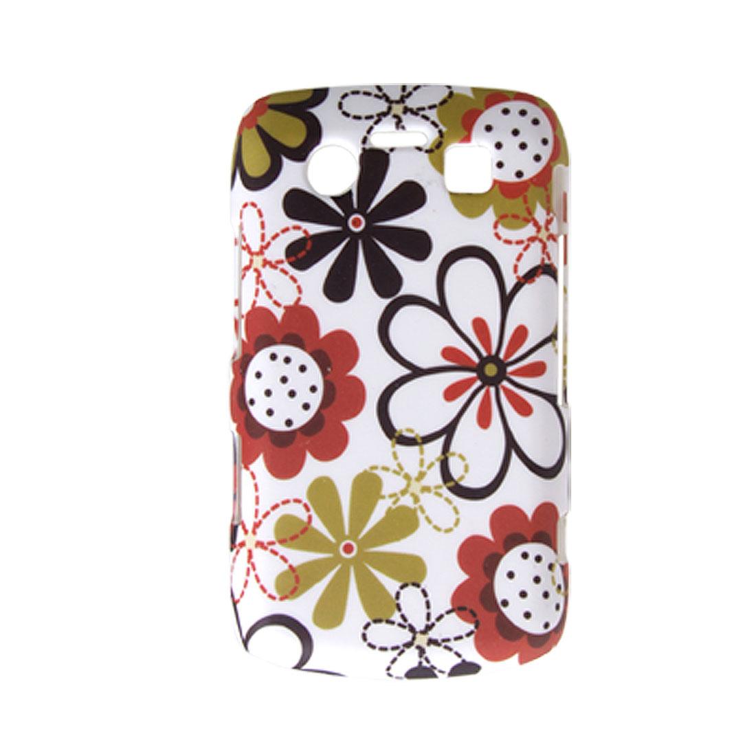 White Hard Case Rubberized Flower Cover for BlackBerry 9700