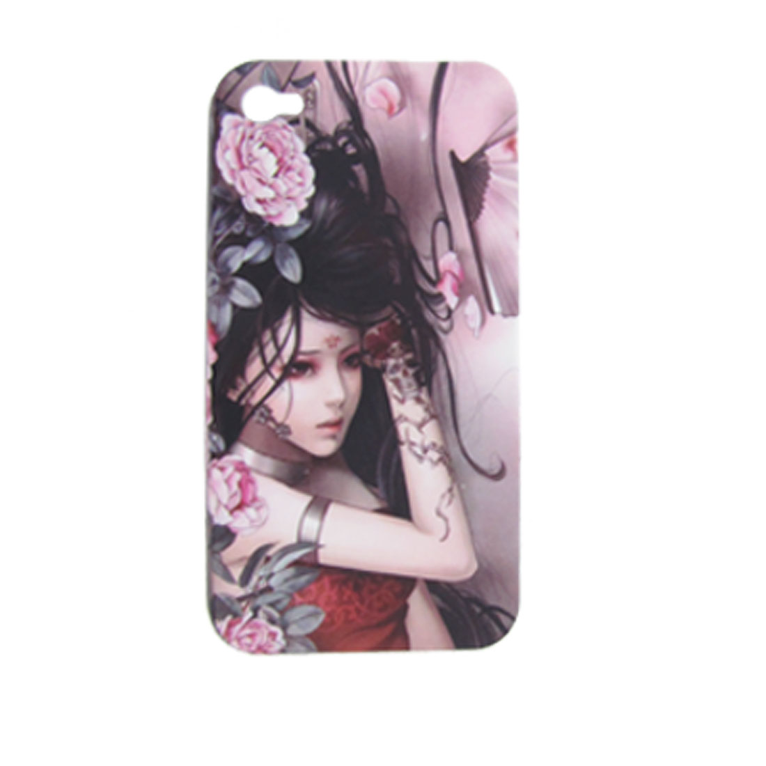 Hard Plastic Tattooing Girl with Peony Back Case for iPhone 4 4G