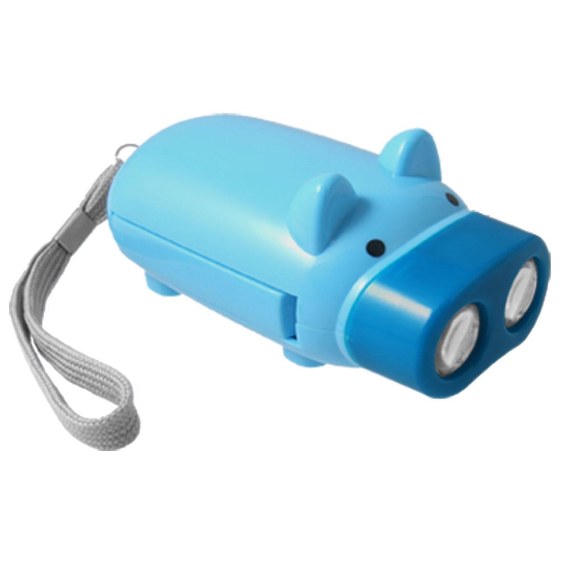 Sky Blue Pig Design Hand Crank Squeeze 2 LED Flashlignt Torch W Strap