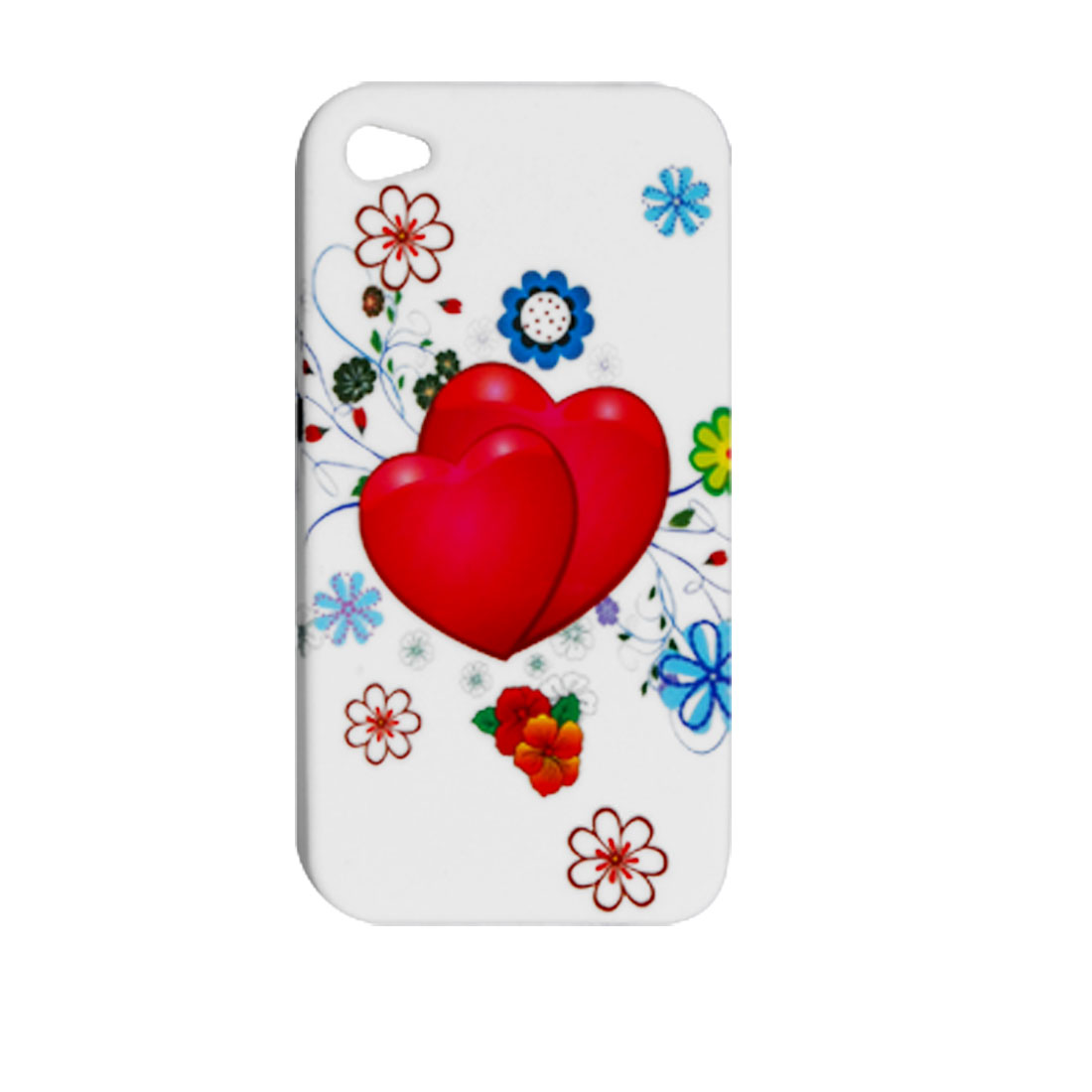 Red Love Heart Print Soft Plastic Back Case for Apple iPhone 4 4G