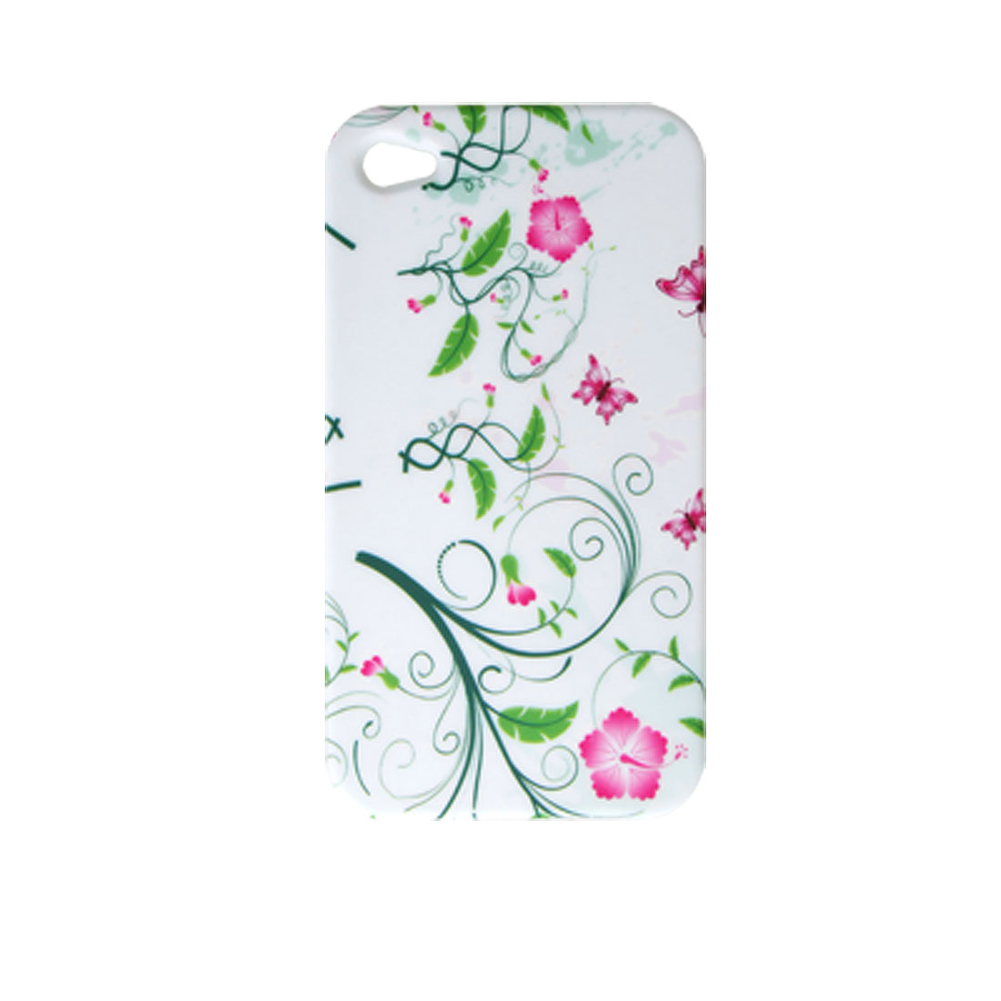 Plants Butterfly Decor Soft Plastic Back Case for Apple iPhone 4 4G