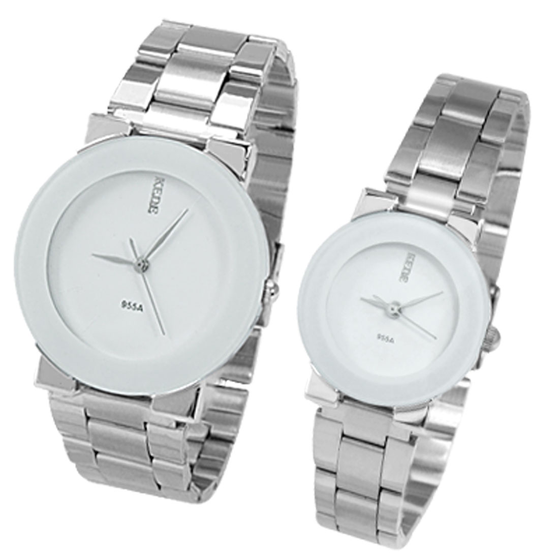 Pair Lovers White Rim Round Dial Case Steel Band Wristwatch Watch