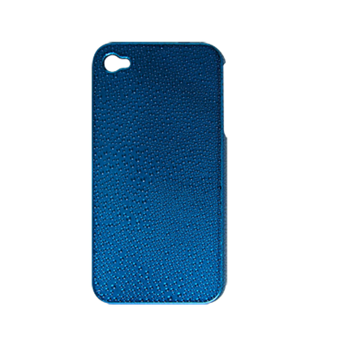 Blue Plated Nonslip Raindrop Hard Plastic Case for iPhone 4 4G