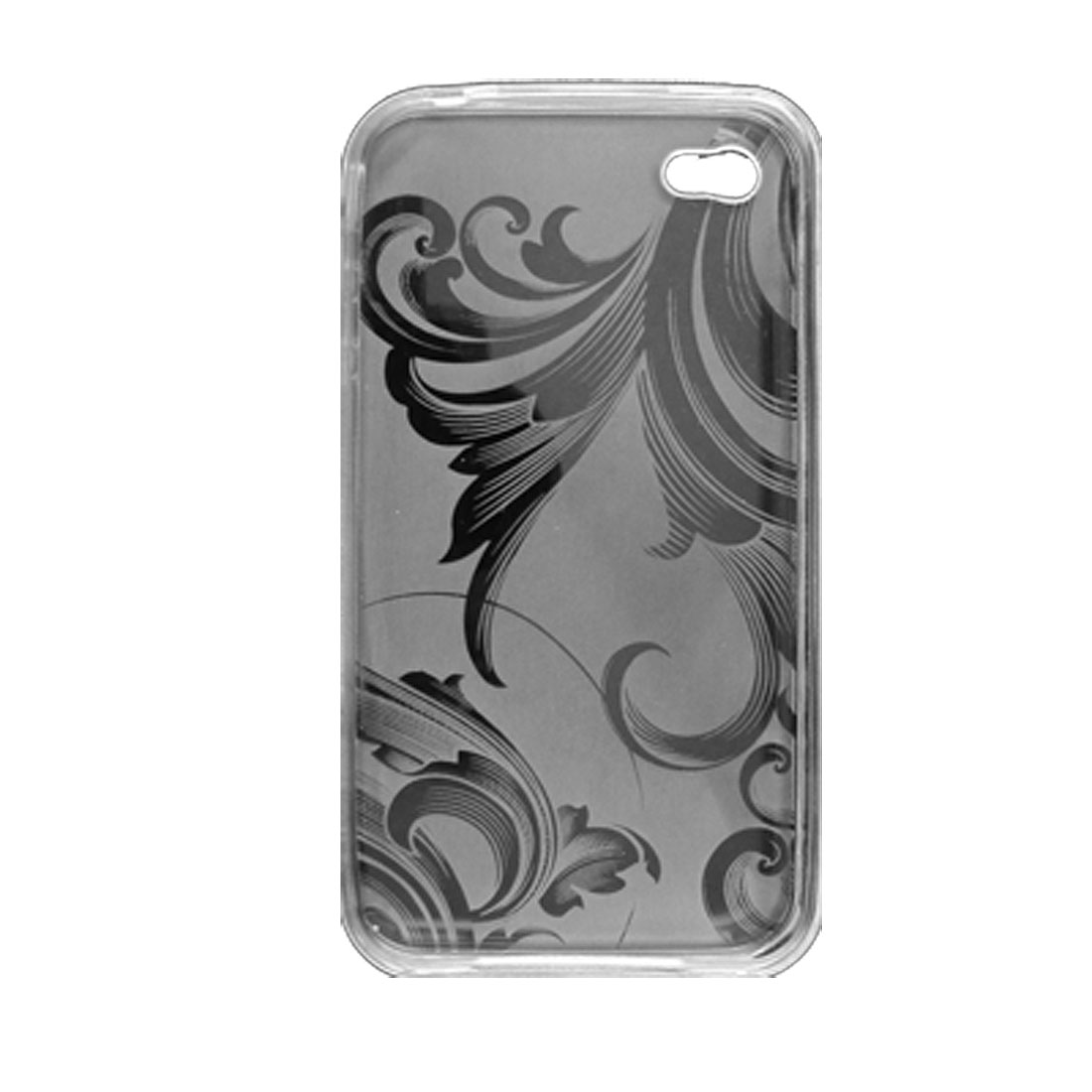 Clear White Waves Pattern Plastic Soft Case for iPhone 4 4G