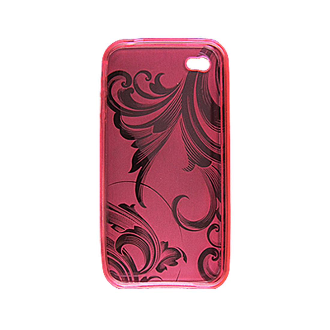 Clear Wave Pattern Soft Plastic Pink Case for iPhone 4 4G