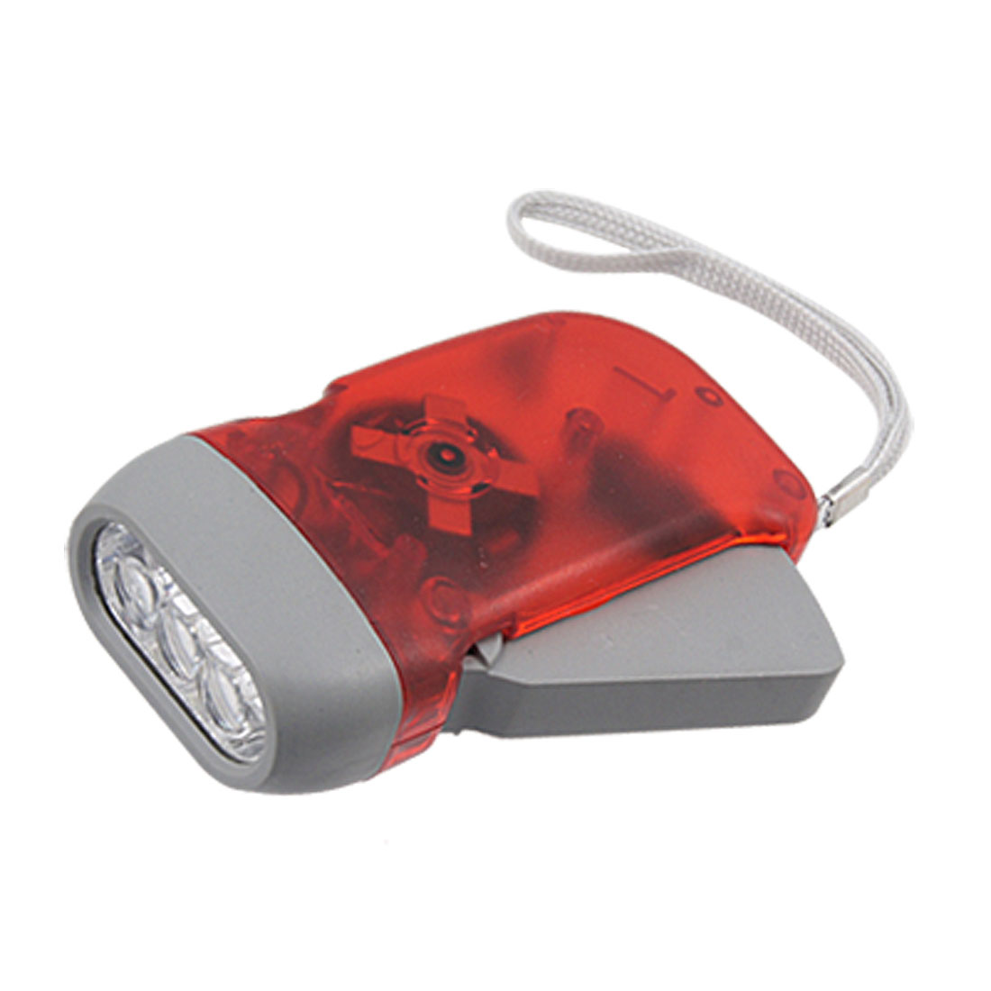 Clear Red Plastic Hand Crank Squeeze 3 White LED Light Flashlight Torch