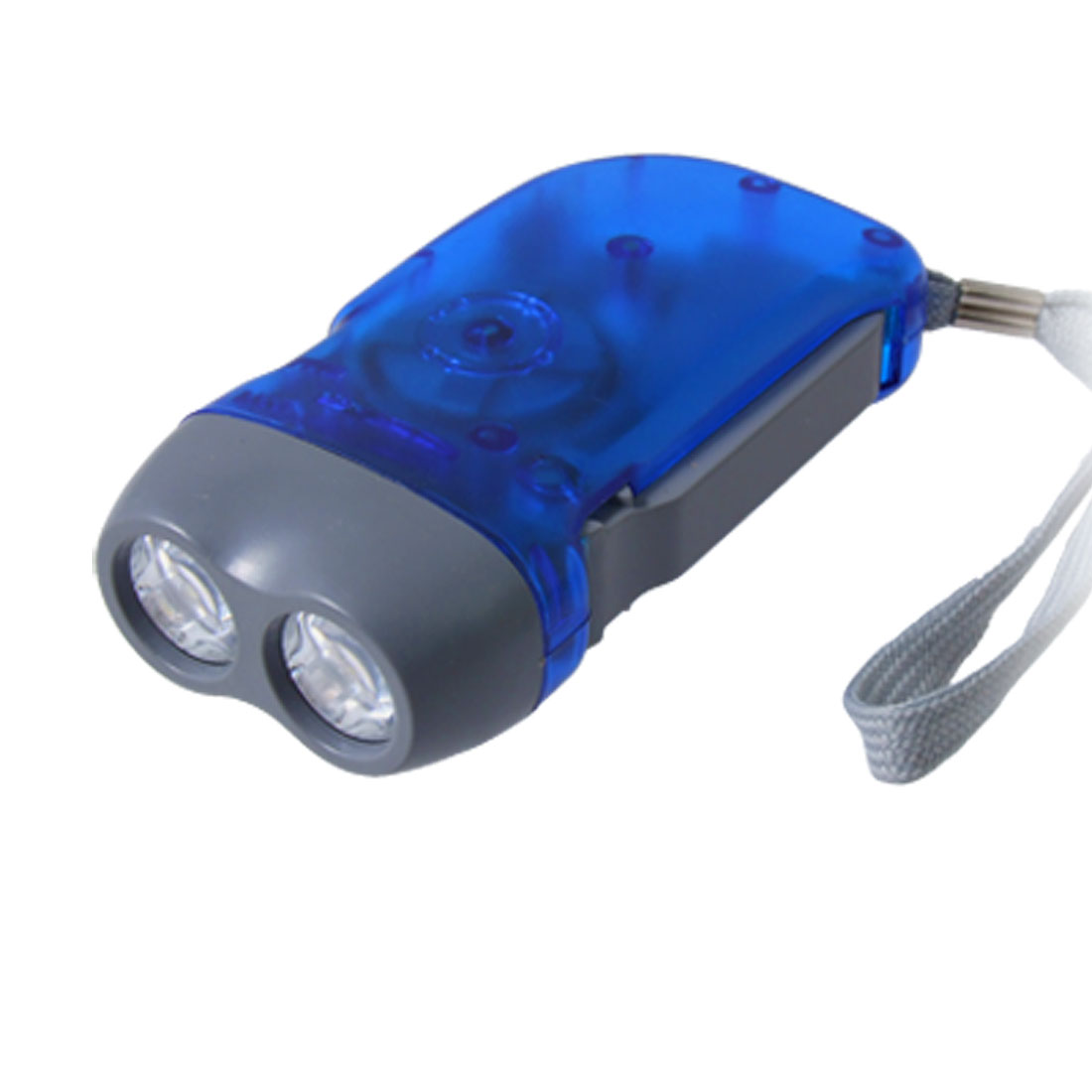 Clear Blue Battery Free Hand-powered 2 LED Flashlight Torch W Hand Strap