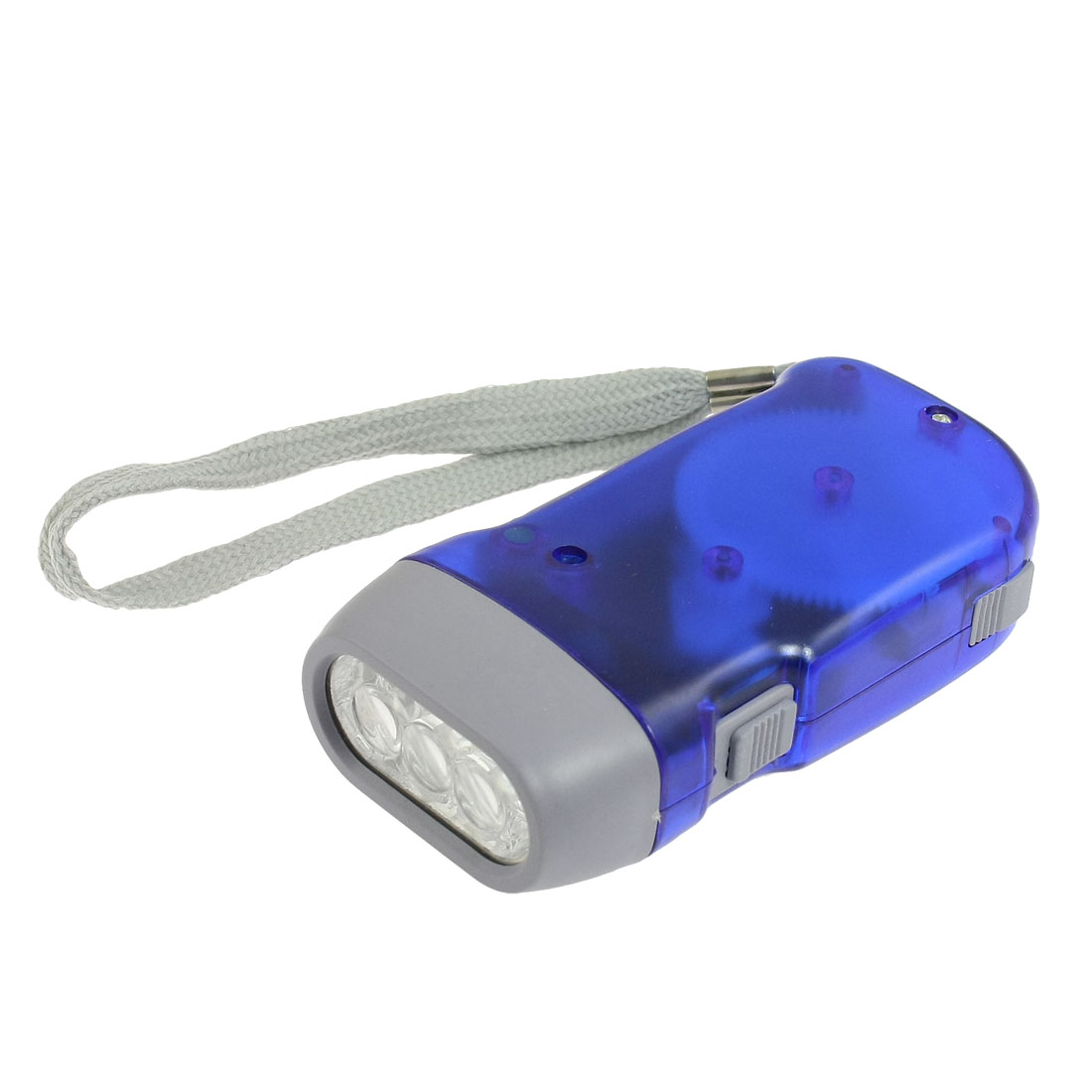 Battery Free Hand-powered 3 LED Flashlight Torch Clear Blue with Lanyard