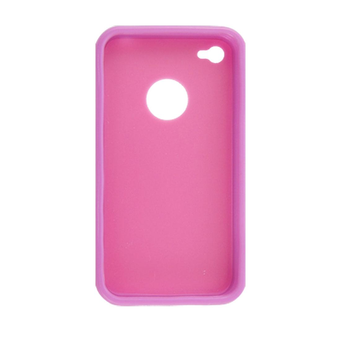 Fuchsia Back Purple Side Hard Plastic Hole Design Case for iPhone 4 4G