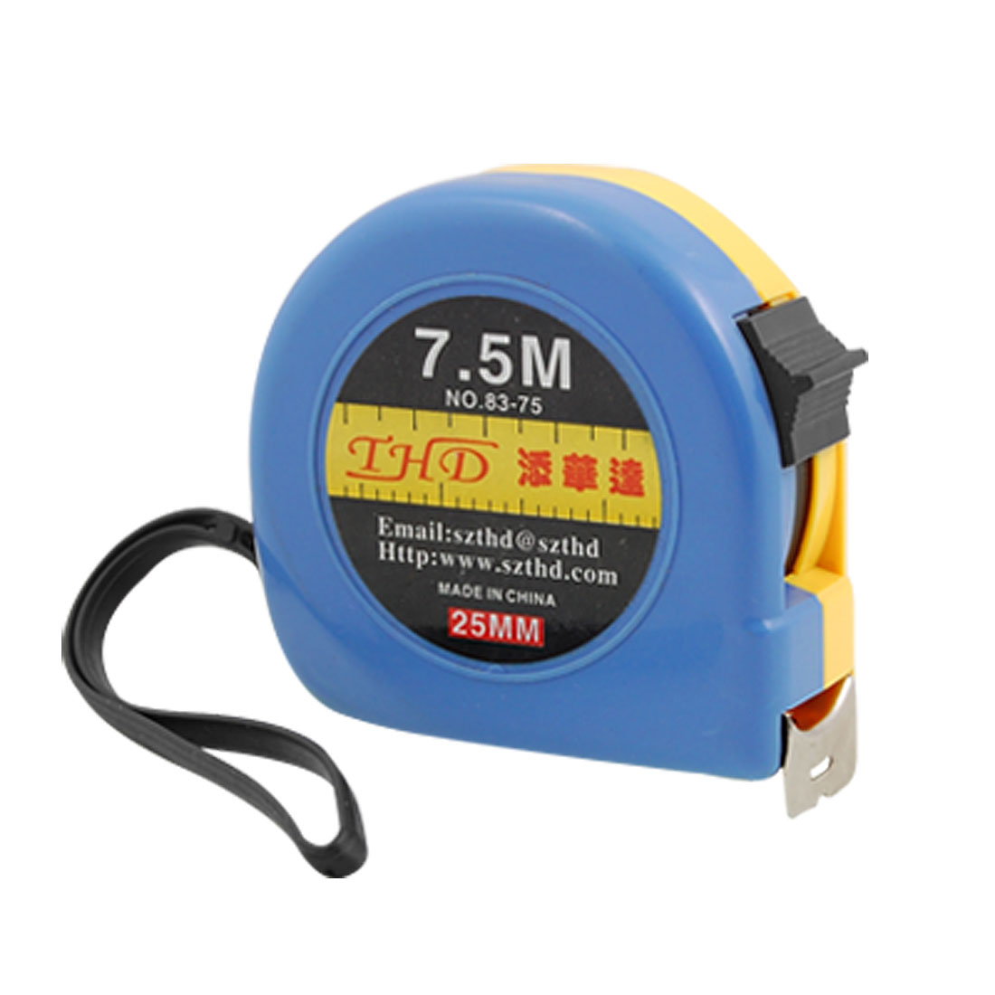 7.5M Yellow Blue Retractable Steel Tape Measure with Manual Lock