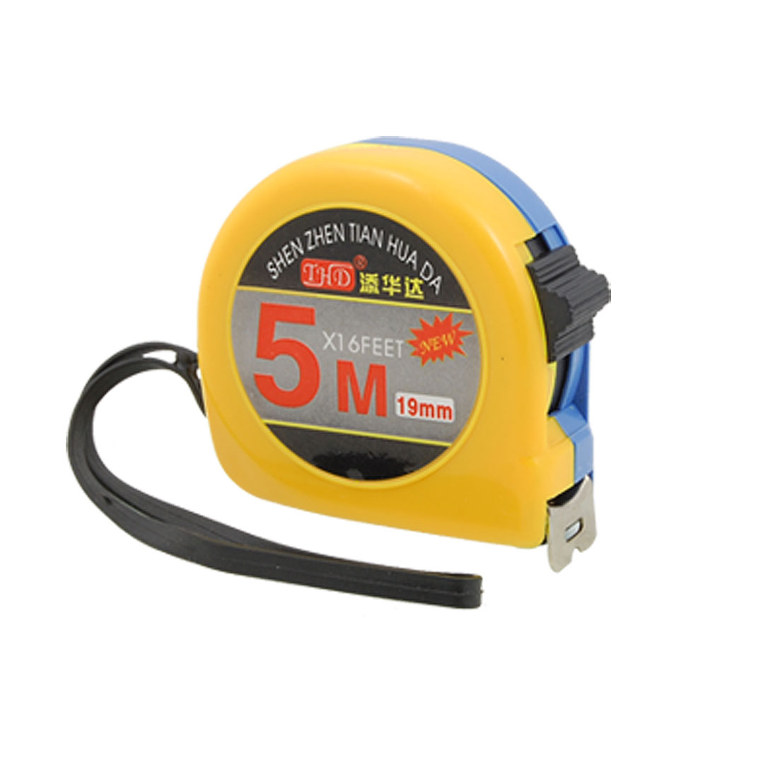 5M Yellow Blue Retractable Tape Measure with Manual Lock