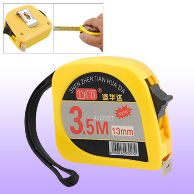 3.5M Yellow Self Retractable Steel Tape Measure with Manual Lock
