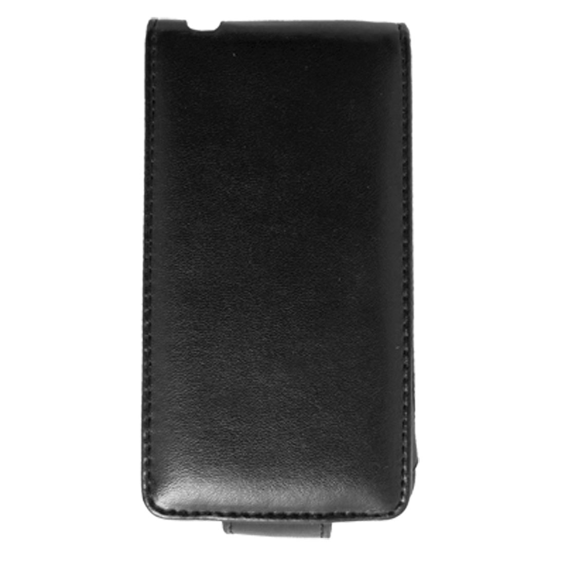 Black Vertical Faux Leather Pouch Case With Clip for iPhone 4 4G