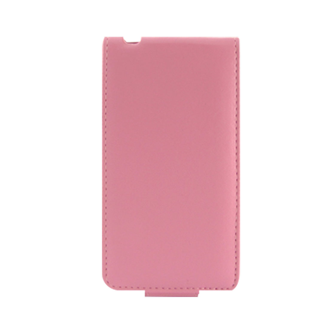 Pink Button Closure Faux Leather Vertical Pouch for iPhone 4