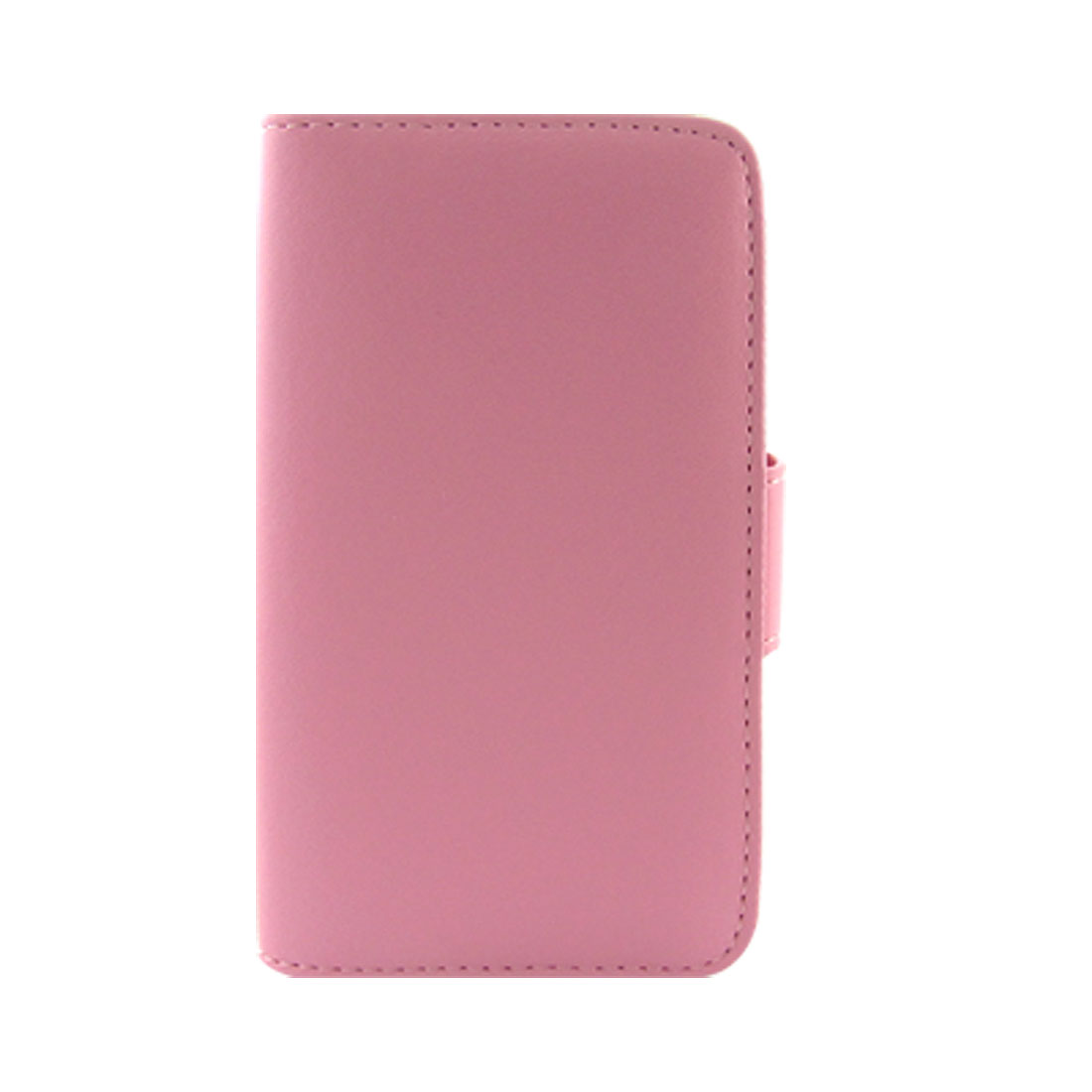 Pink Side Flap Button Closure Faux Leather Pouch Holder for iPhone 4