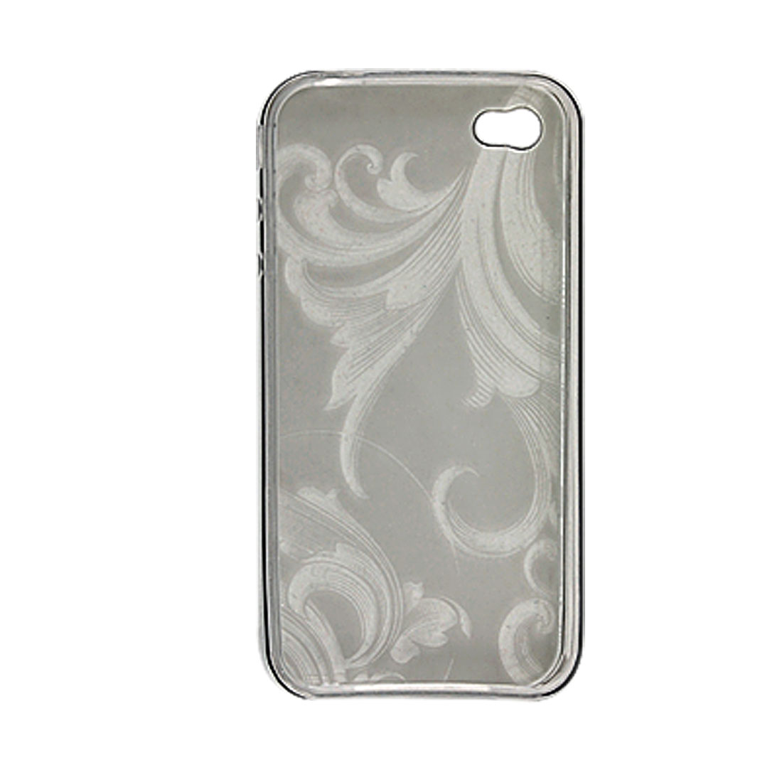 Gray Flower Soft Plastic Skin Cover + Stylus Pen for iPhone 4