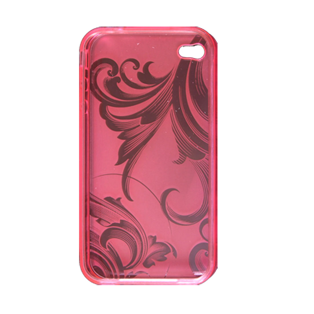 Flower Pattern Soft Plastic Clear Ultra Pink Skin with Screen Guard for iPhone 4