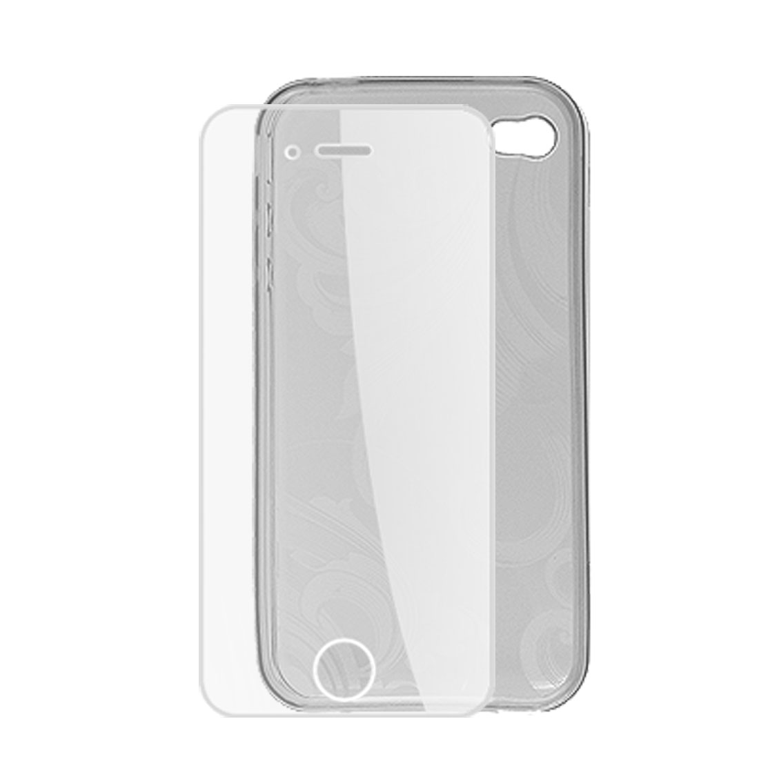 Flower Pattern Soft Plastic Clear Gray Skin with Screen Guard for iPhone 4