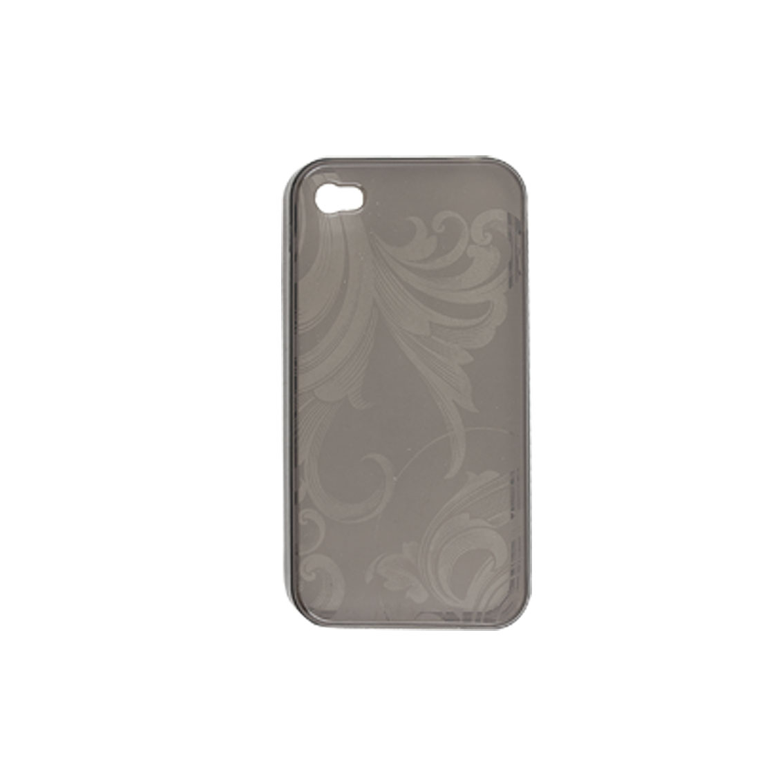 Flower Pattern Clear Deep Gray Soft Plastic Skin with Screen Guard for iPhone 4