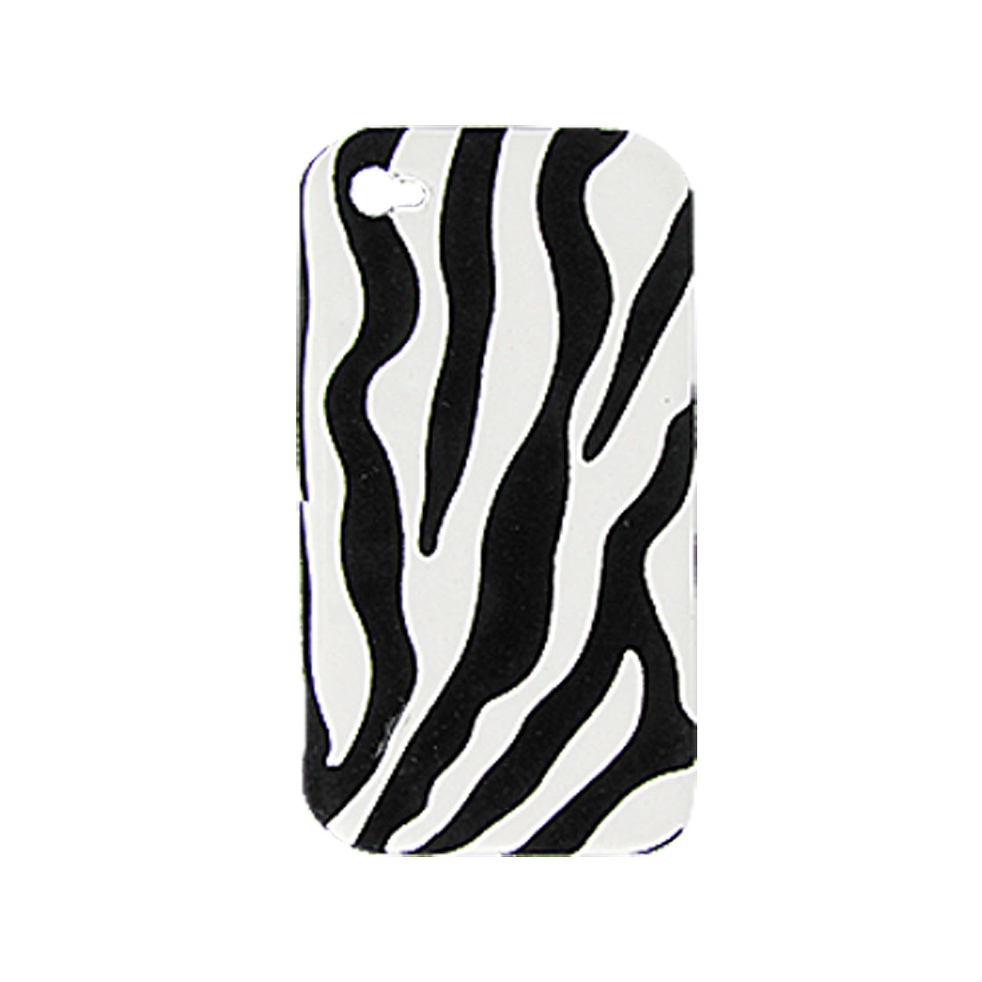 Zebra Printed White Black Plastic Back Cover for iPhone 4