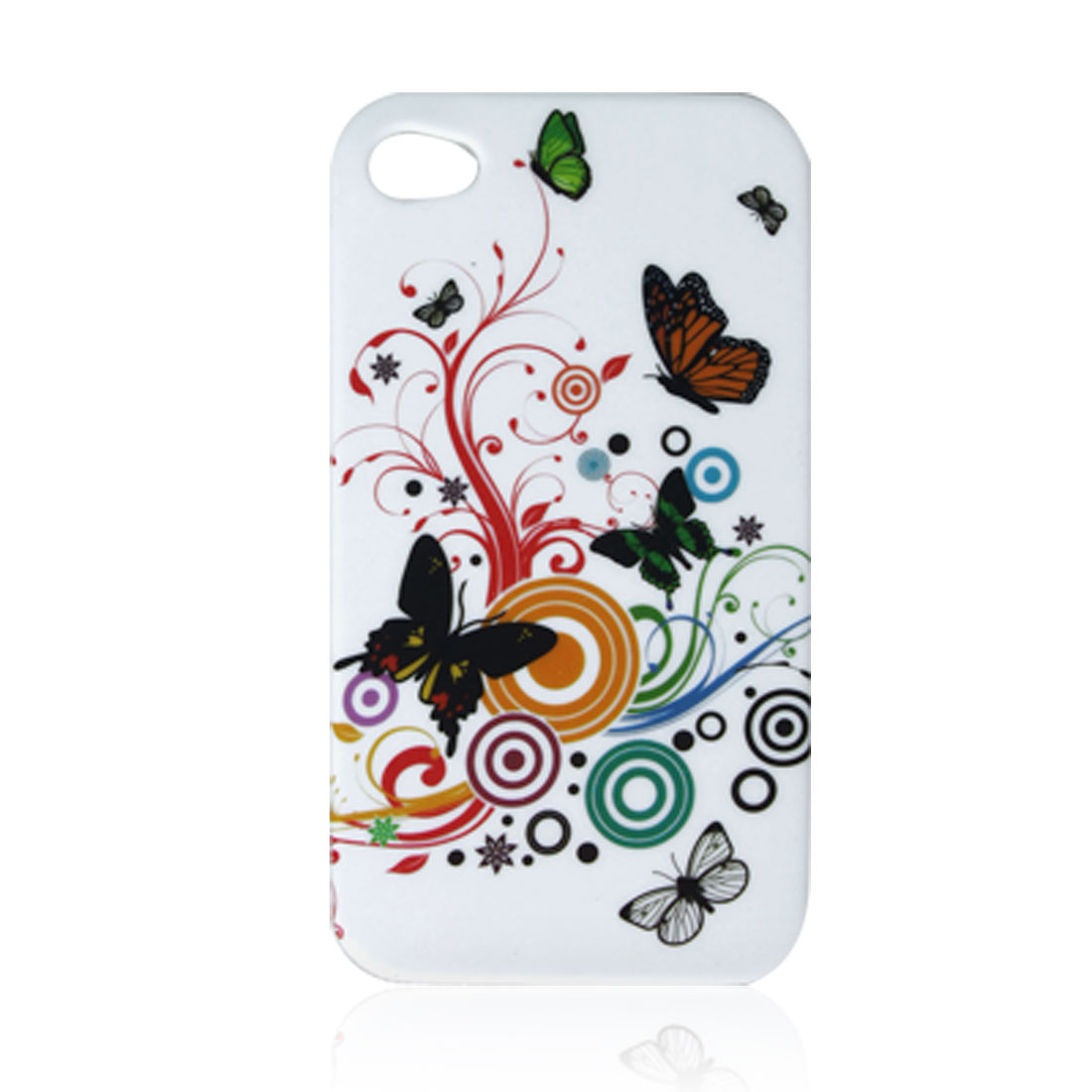 White Butterfly Print Case Protector for Apple iPhone 4 4G