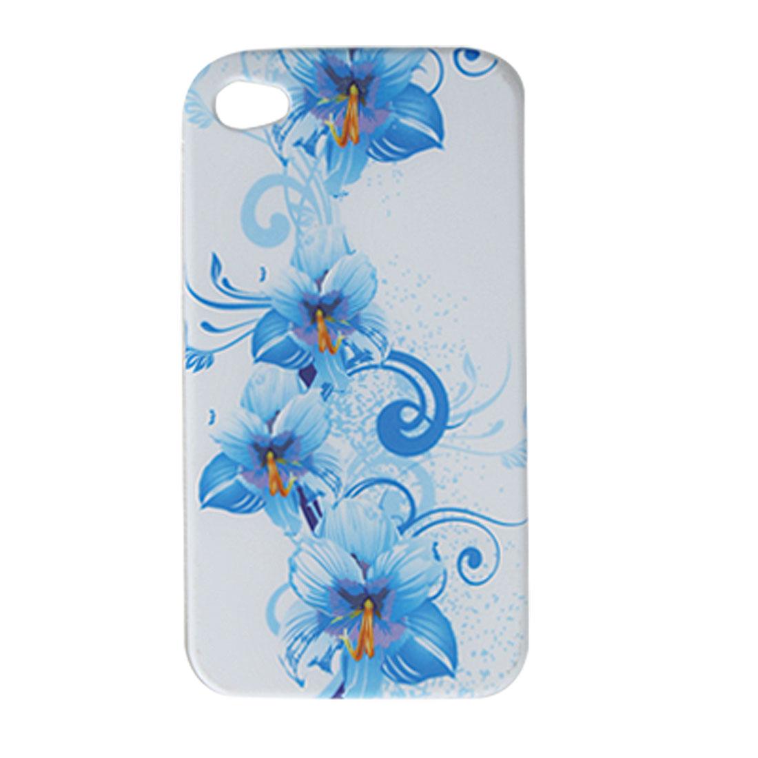 Blue Flower White Soft Plastic Case for Apple iPhone 4 4G