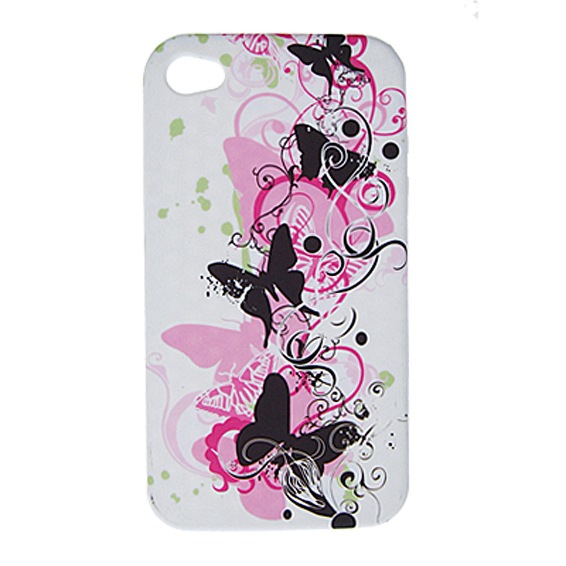 Soft Plastic Case Butterfly White Back Shell for iPhone 4 4G