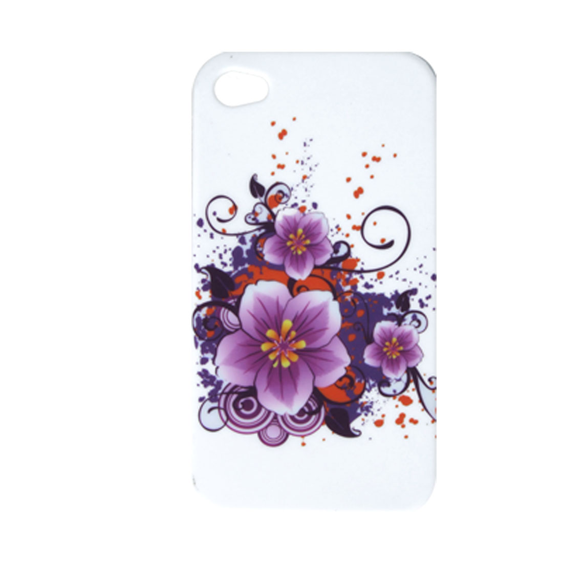 White Soft Plastic Back Case Flower Guard for iPhone 4 4G