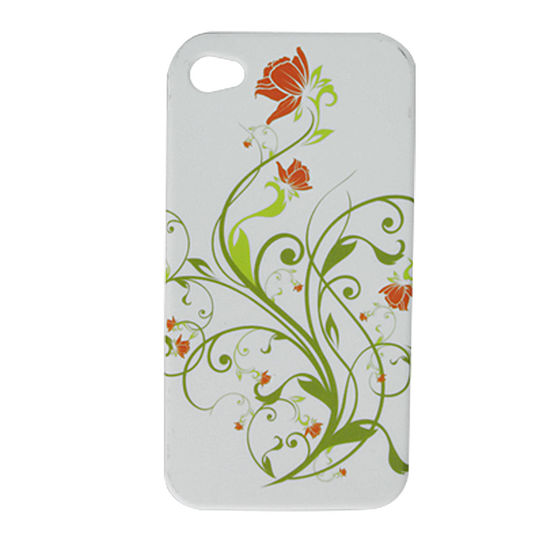 White Soft Plastic Butterfly Flower Case for iPhone 4 4G