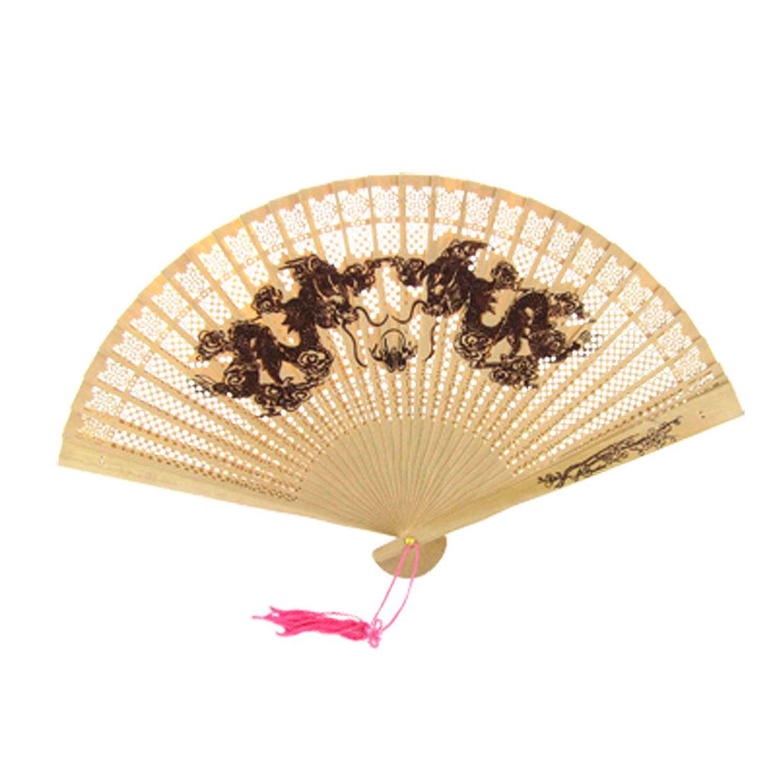 Wooden Carved Double Dragon Folding Fan w Pink Tassel