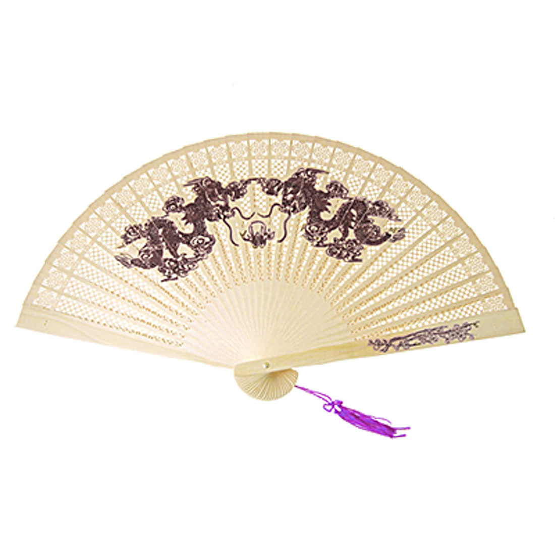 Purple Tassel Wooden 2 Dragon Fragrant Folding Fan