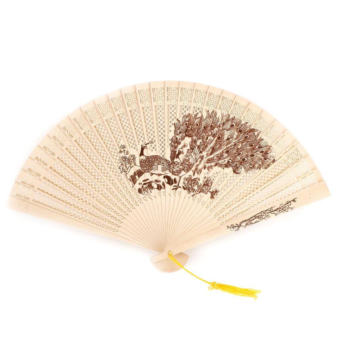 Peacocks Wooden Folding Carved Fragrant Fan w Yellow Tassel