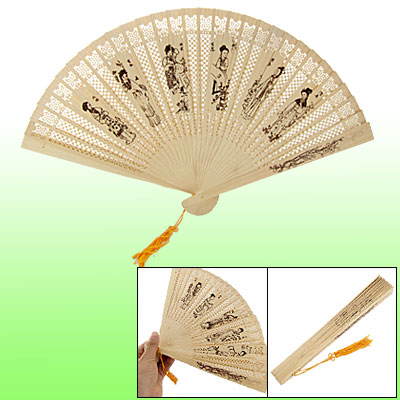 Dream of Red Mansions Beauty Wooden Carved Folding Fan