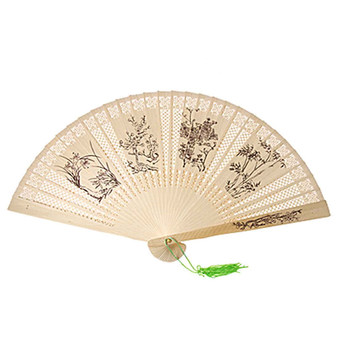 Folding Wooden Carved 4 Plants Fragrant Fan w Green Tassel