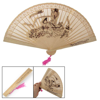 Washing Clothes 2 Beauties Wooden Carved Folding Fan