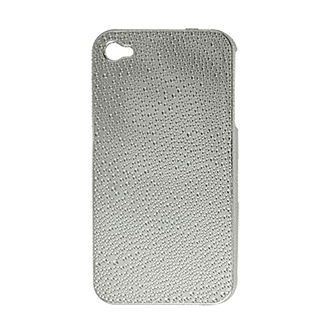 Silver Tone Glittery Hard Plastic Back Case + Screen Guard for iPhone 4 4G