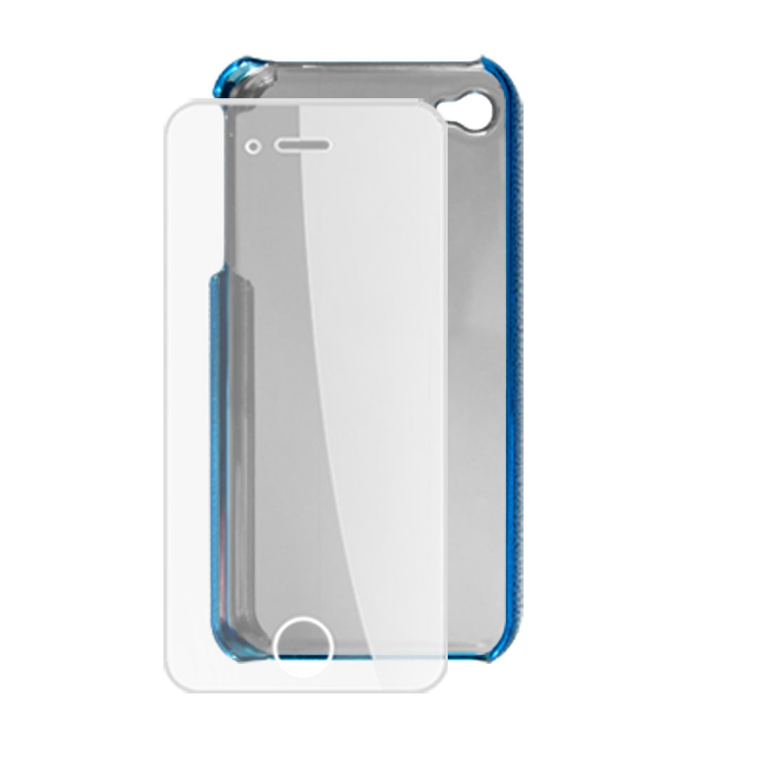 Blue Glittery Plastic Back Case + Screen Protector for iPhone 4 4G