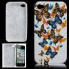 Colors Butterfly White Soft Plastic Back Case for iPhone 4 4G