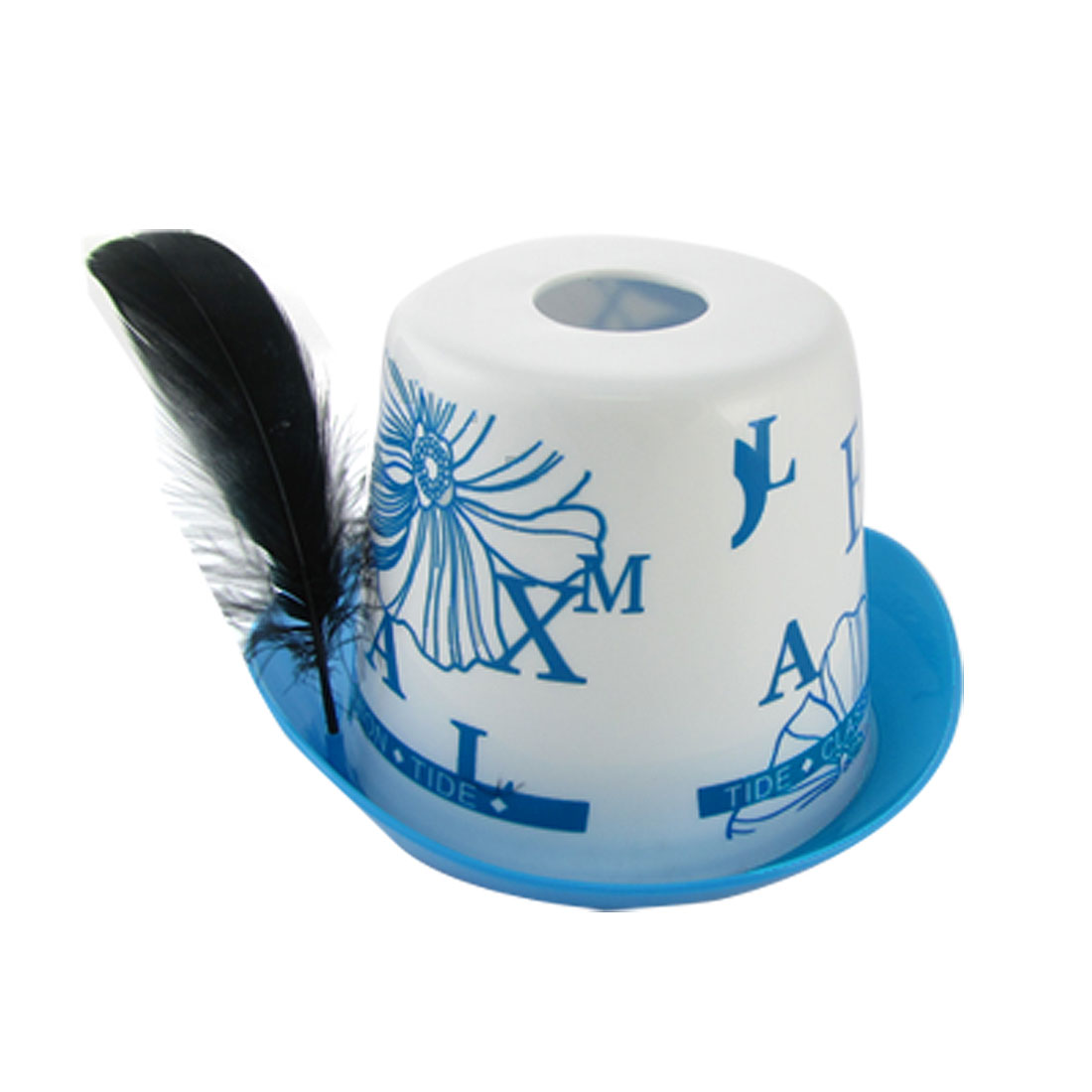 Blue White Flowers Print Cowboy Hat Shape Tissue Box Holder
