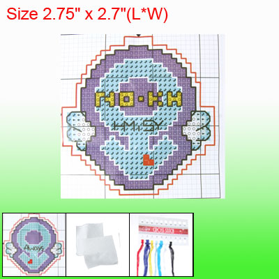 Dual Sided Love Key Pendant Phone Strap Counted Cross Stitch Kit