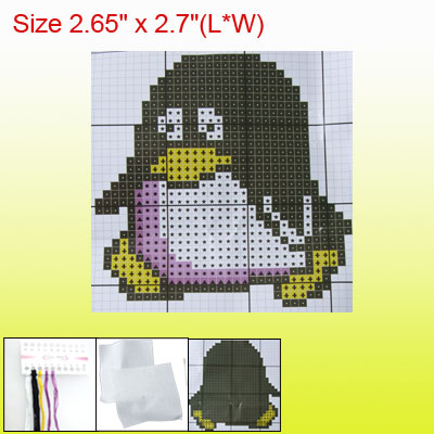 Cartoon Penguin Pendant Phone Strap Two Sided Counted Cross Stitch Kit