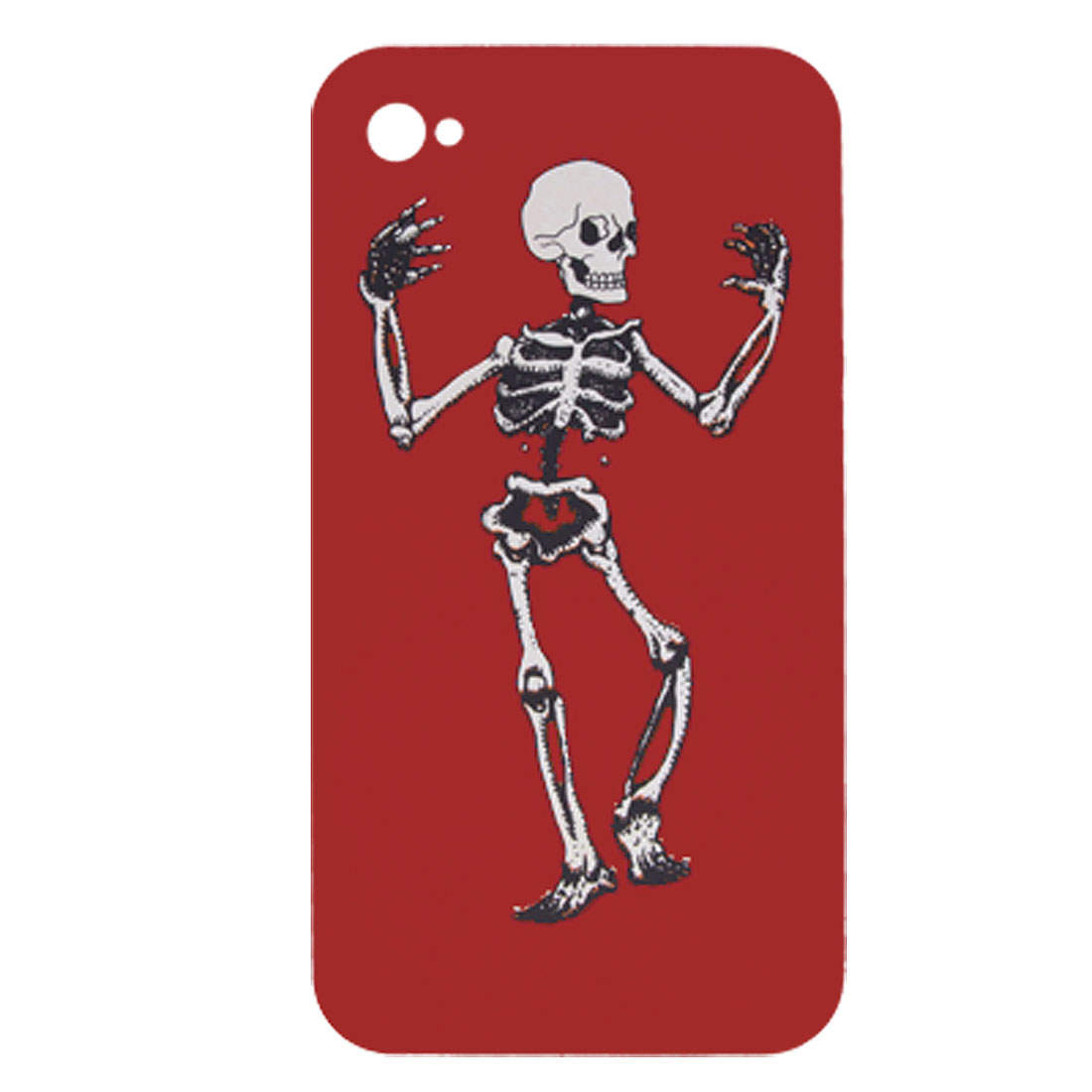 Rubberized Hard Plastic Skeleton Red Case + Stylus Pen for iPhone 4 4G