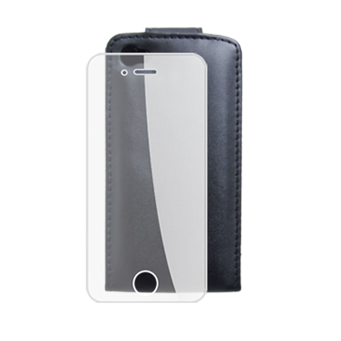Black Faux Leather Pouch Case + Screen Guard for iPhone 4 4G