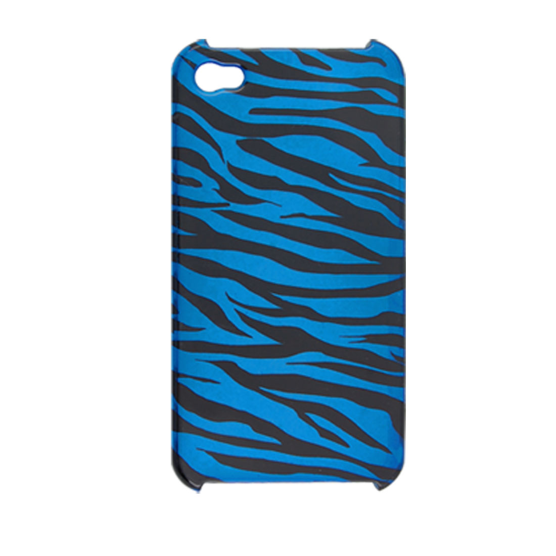 Zebra Print Hard Plastic Blue Back Case Cover for Apple iPhone 4 4G