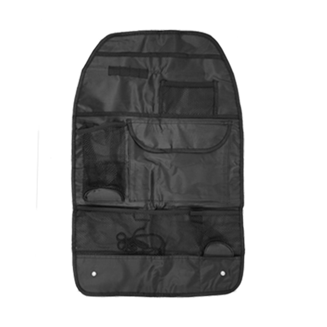 Nylon 5 Compartment Black Car Auto Back Seat Organizer with Lanyard