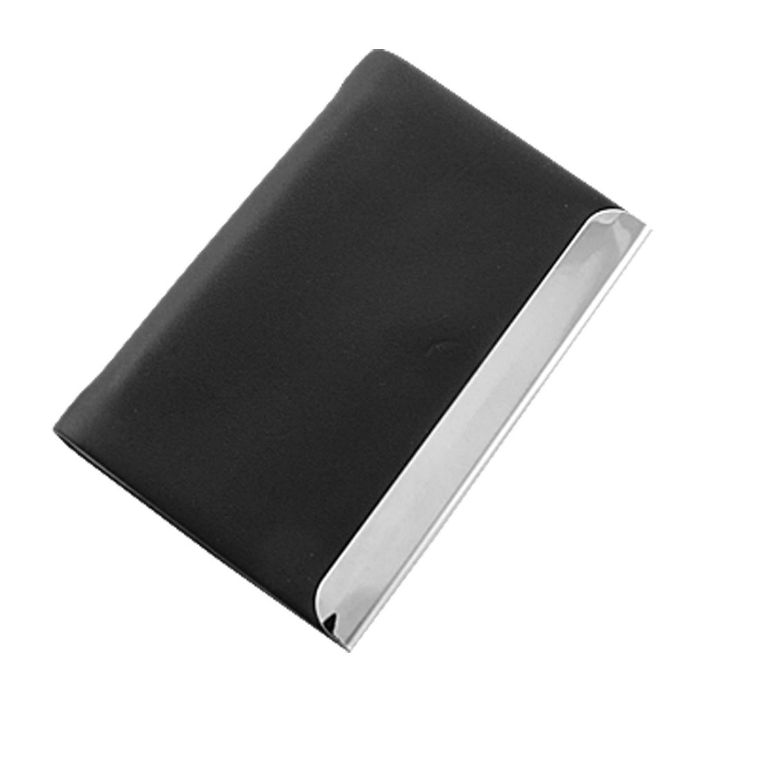 Portable Faux Leather Black ID Credit Name Card Holder