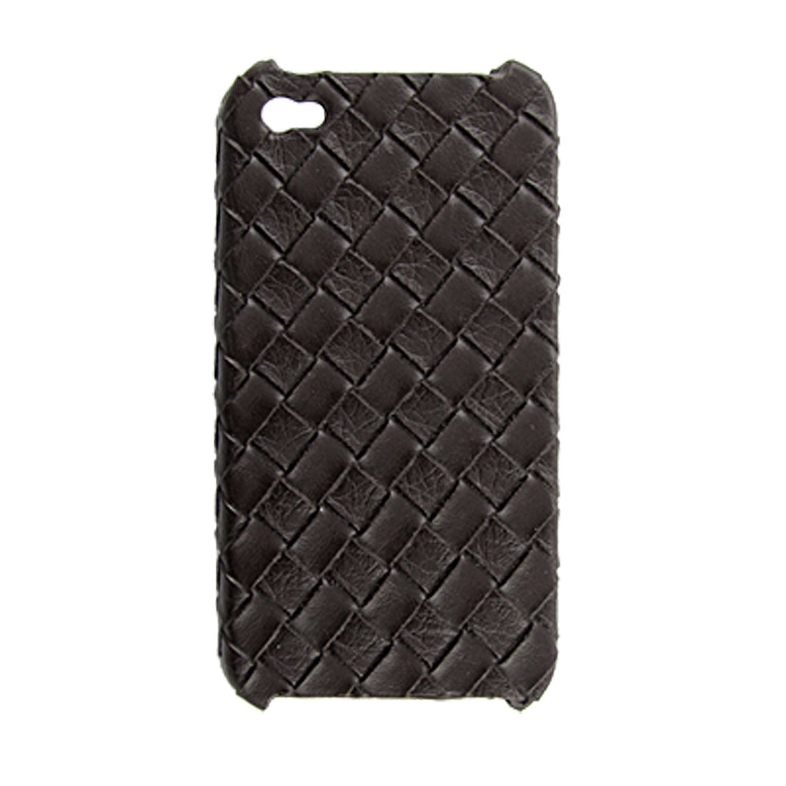 Faux Leather Coated Textured Hard Back Case Protector Brown for iPhone 4 4G