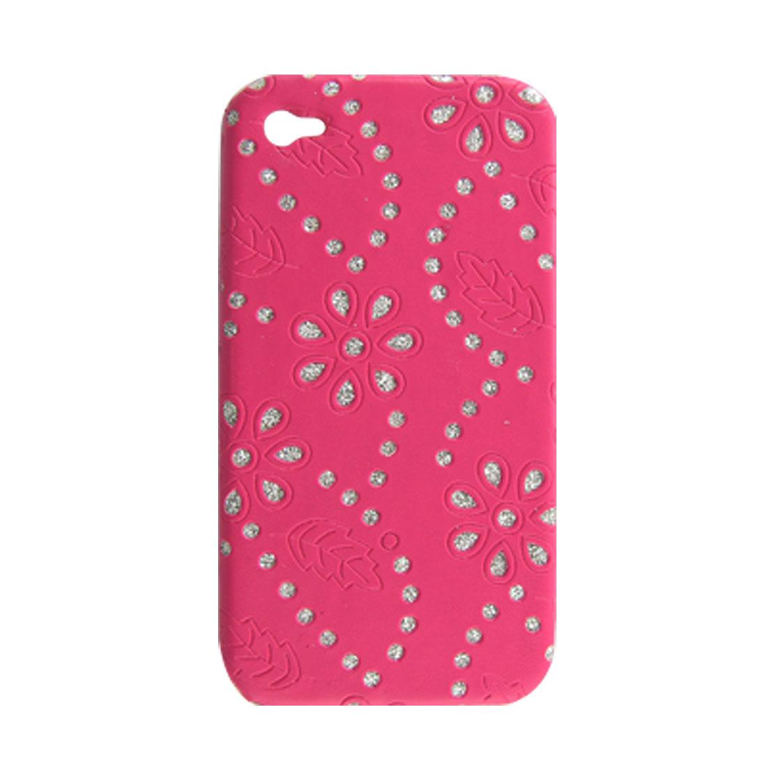 Glitter Rhinestone Flower Faux Leather Coated Plastic Back Case Fuchsia for iPhone 4 4G