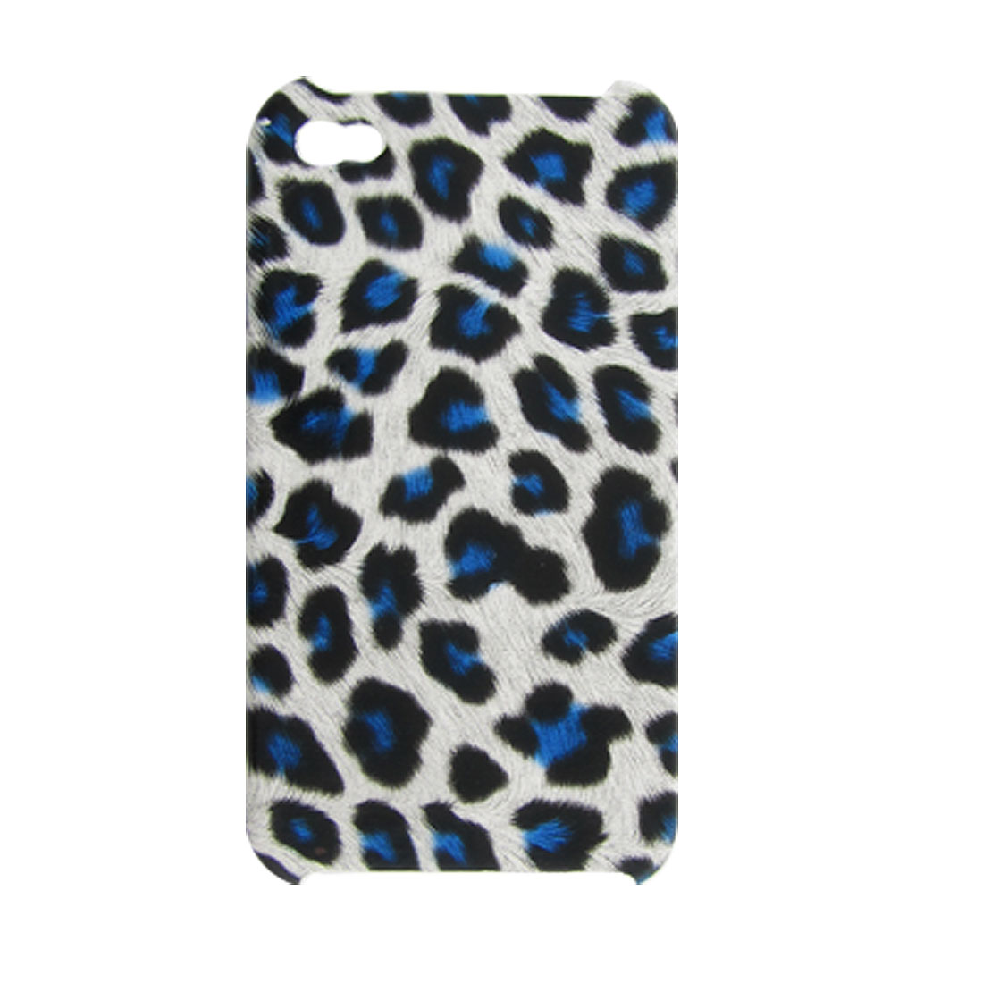 Blue Leopard Print Faux Leather Coated Hard Back Case for iPhone 4 4G