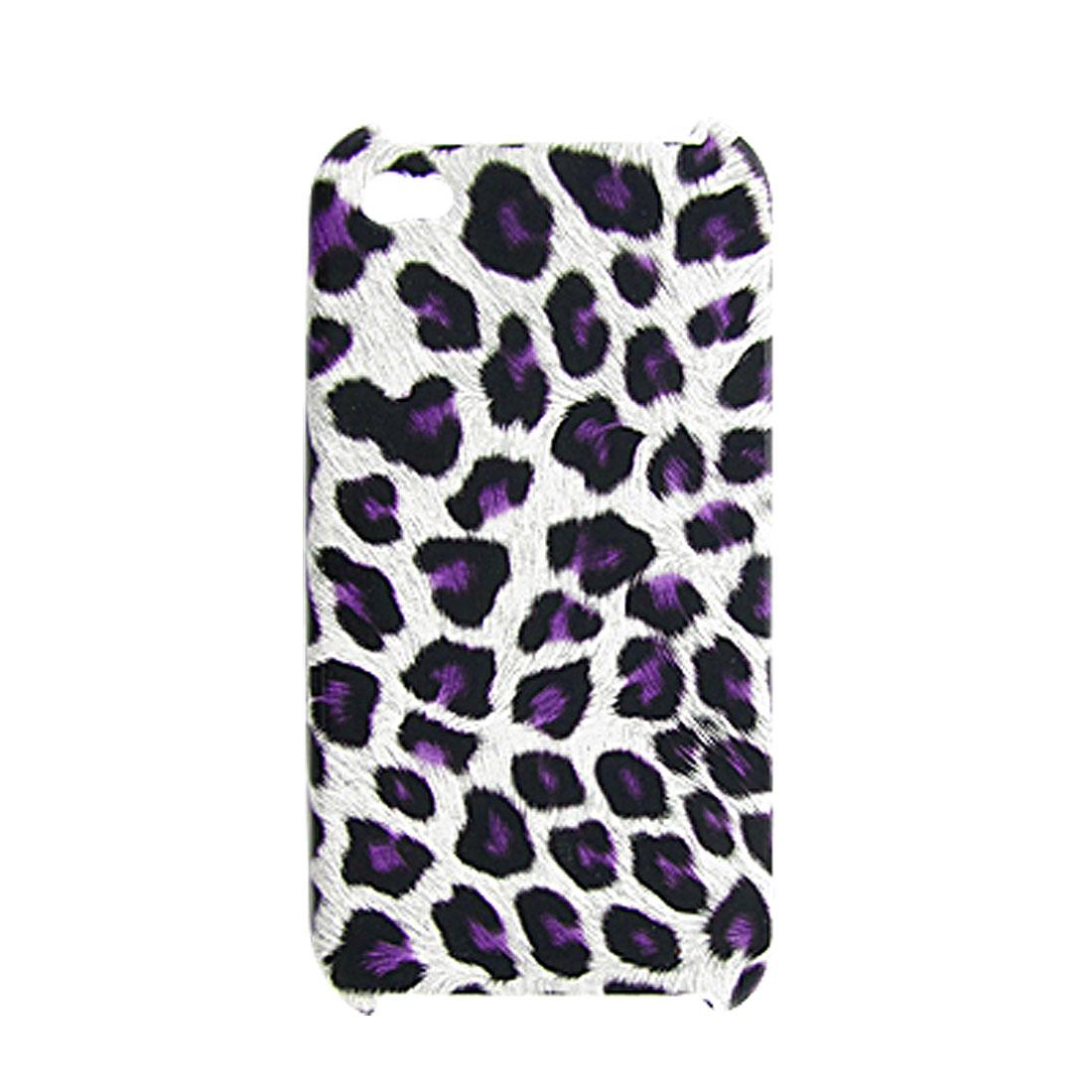Purple Leopard Pattern Plastic Back Shield Case for iPhone 4 4G